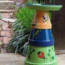 30+ Cute DIY Bird Bath Ideas To Enhance Your Garden Clay Pot Projects, Clay Pot Crafts, Diy Garden Projects, Diy Craft Projects, Class Projects, Craft Ideas, Decor Ideas, Diy Crafts, Bird Bath Garden