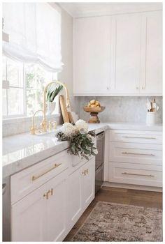 Refacing Kitchen Cabinets, White Kitchen Cabinets, Kitchen Cabinet Design, Modern Kitchen Design, Interior Design Kitchen, Soapstone Kitchen, Kitchen Countertops, Kitchen Cabinetry, Kitchen Fixtures