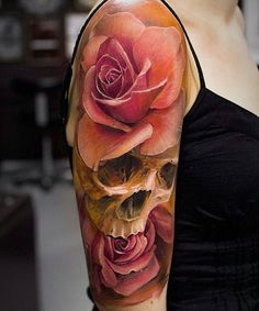 rose and skull sleeve tattoo - 70 Amazing Tattoo Designs 3d Rose Tattoo, Lace Rose Tattoos, 3d Flower Tattoos, Ribbon Tattoos, Lace Tattoo, Tattoo Black, Band Tattoos, Watch Tattoos, Body Art Tattoos