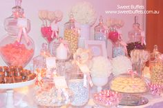 White, Silver and Peach Wedding Candy Buffet