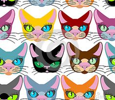 Cats seamless pattern. Many different pets. Vector background of