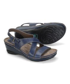 Another great find on #zulily! Denim Arizona Leather Sandal by Montana Footwear #zulilyfinds