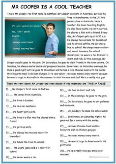 The present simple tense with Mr Cooper and Mrs Smith - English ESL Worksheets for distance learning and physical classrooms Teaching English Grammar, English Grammar Worksheets, English Vocabulary, Teaching Spanish, Reading Comprehension Activities, Reading Worksheets, Comprehension Questions, Vocabulary Activities, Kindergarten Worksheets