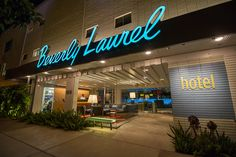 Beverly Laurel Motel; Beverly Hills, California  Lighting Designer: Anne Militello Vortex Lighting, Inc. www.vortexlighting.com  Photographer: Graydon Driver www.graydondriver.com