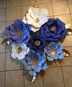 7pc blue white and gold paper flower backdrop