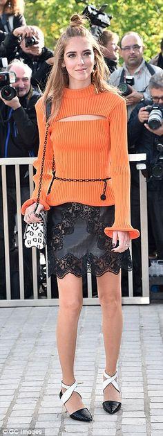 Bright move: (L-R) Fashion fans Chiara Ferragni, Anna Dello Russo andAdele Exarchopoulos ...