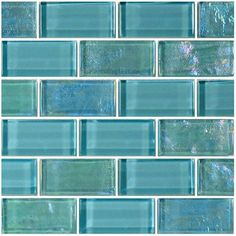 """Turquoise, 1"""" x 2"""" - Glass Tile"""
