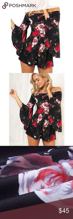 JUST IN - Floral bell sleeved romper So, so cute. Right on trend. I love the bell sleeves and the off shoulder look. Pair with sandals during the day and heels and a leather or jean jacket at night. Rompers are my favorite because it makes getting ready SO easy.  Save space on your next vacation by packing a romper instead of a top and bottom!   May be available on other colors and sizes (see last photo). Comment below if interested or with any questions. Pants Jumpsuits & Rompers