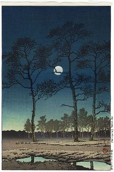 "'Field of Toyama' or 'Moon over Toyama Plain' (1931) woodblock print by Hasui Kawase Hasui Kawase (1883 – 1957) Prominent Japanese painter of the late 19th and early 20th centuries, and one of the chief printmakers in the shin hanga (""new prints"") movement."