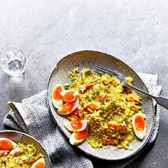 Buttery leek and smoked trout kedgeree