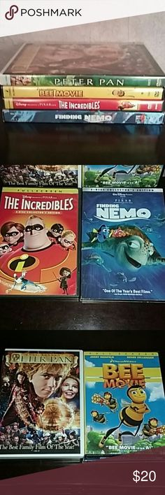 The Bee Movie Finding Nemo Peter Pan The Incredibl The Bee Movie, Finding Nemo, The Incredibles, Peter Pan, all play great, dvds Other