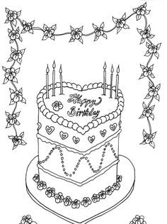Birthday Cakes Coloring Pages Seven Candles cakepinscom Animal