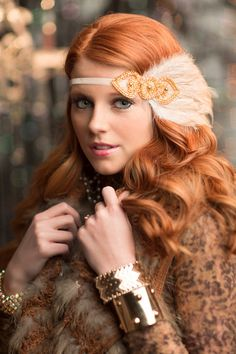 Gatsby Gold Flapper Headpiece Great Gatsby by AdorningBeautyCo