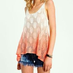 ❤️Host Pick ❤️Crochet knit ombré tank top Beautiful coral and white ombré cover up tank top. Has one snag (pictured) 55% cotton 45% acrylic. Size is small/medium Love Culture Tops Tank Tops
