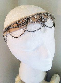 Deco Goddess- Crystal Rhinestone Headdress- Chiffon and Chain Headpiece-Vintage Bridal Wedding-1920s Headband Flapper The Great Gatsby