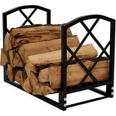 Firewood Log Rack with Diamond Design - Black - Sunnydaze Decor