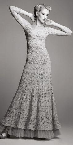 19 Ideas For Crochet Skirt Vintage Wedding Dresses Vintage Knitting, Lace Knitting, Crochet Lace, Crochet Dresses, Knit Dress, Lace Dress, Crochet Headband Pattern, Crochet Wedding, Knitwear Fashion