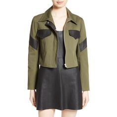 Women's Veda Linder Leather Trim Military Jacket (1.790 BRL) ❤ liked on Polyvore featuring outerwear, jackets, army, field jacket, veda jacket, army field jacket, leather trim jacket and layered jacket