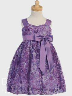Adorbs! Purple Embroidered Tulle Flower Girl Dress