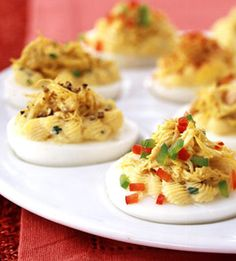 Put a new twist on a classic appetizer by including 1/2 cup of crabmeat in your deviled eggs.
