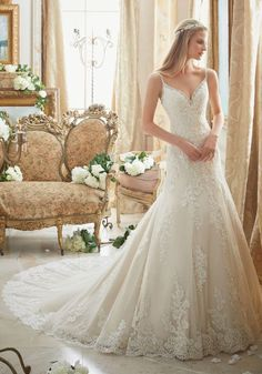 Mori Lee Wedding Galveston - Style 2883 from Mori Lee Bridal. Diamante Beading Trims the Tulle Gown with Embroidered Lace Appliques and Scalloped Hemline Mori Lee Bridal, Mori Lee Wedding Dress, Lace Wedding Dress, Wedding Dresses With Straps, Fit And Flare Wedding Dress, Gorgeous Wedding Dress, Bridal Wedding Dresses, Bridesmaid Dresses, Prom Dresses