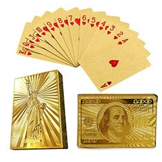 "2 Pack Poker 24k Gold Foil Playing Cards Chow Yun-Fat Gamblers Dollars Statue of Liberty Waterproof:   Specifications: brbr Material: Gold Foil brbr Color: Gold brbr Package Dimension: 3.6"" *2.4"" *0.79""brbr Weight: 4.5OZbrbr Package Included: br the 100 Dollar Bil Poker Cards + the Statue of Liberty 24K Gold Plated EUR Poker Cards (A Set of 52+2 Cards)brbr Features: br Use high-grade gold foil and deep emboss the surface brbr A clear three-dimensional patterns, refraction texture shini..."