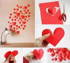 DIY hearts diy diy crafts do it yourself diy art diy hearts diy tips diy ideas easy diy crafts by BGM Inspiration Diy Wanddekorationen, Easy Diy Crafts, Fun Crafts, Arts And Crafts, Diy Paper, Paper Crafting, Saint Valentin Diy, Heart Diy, Heart Crafts