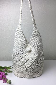 70's+Cream+Macramé+Bucket+Shoulder+Bag