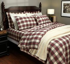 Pinzon Lightweight Cotton Flannel Duvet Cover - Full/Queen, Cream/Red Plaid