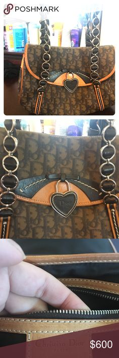Dior heart locket handbag Excellent condition never used! Fits a full sized wallet inside and has extra space Extra zipper inside Heart locket has the Dior logo Christian Dior Bags Shoulder Bags
