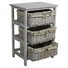 Weathered wood storage chest with 3 woven cloth-lined baskets showcasing a typography motif.   Product: Storage chest