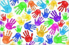 Pics of Multiple Painted Handprints of School Age Preschool Children