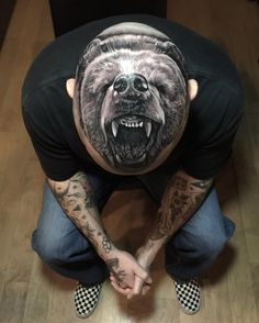 bear tattoo on head - 70 Amazing Tattoo Designs 3d Tattoos For Men, Tattoos 3d, Wicked Tattoos, Bear Tattoos, Badass Tattoos, Animal Tattoos, Unique Tattoos, Body Art Tattoos, Sleeve Tattoos