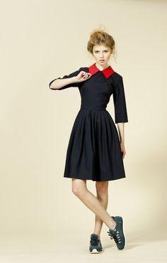 Navy 1950 dress Navy wool dress Dress with collar by mrspomeranz