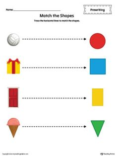 Trace the horizontal lines to match the shapes in this  color printable worksheet.