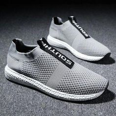 brand new 10511 ac318 Men Flyknit Fabric Breathable Light Running Shoes Slip On Casual Sneakers  is fashionable and cheap, buy best sneakers for plantar fasciitis for ...