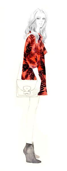 Teri Chung fashion illustration- Stella McCartney dress