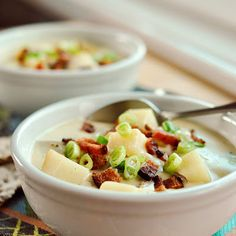 Baked Potato Soup With Bacon, Green Onion