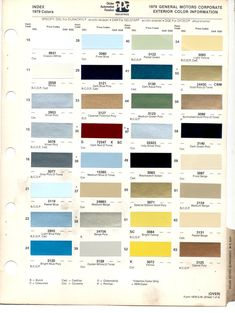 jaguar mk2 paint colour chart jaguar mk2 colours Automotive Paint Colors General Motors Paint Colors