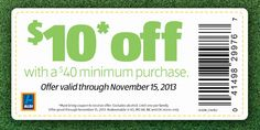 Rare Aldi Printable Coupon---Save $10.00 on a $40.00 Purchase!
