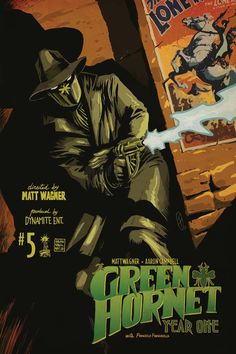 The Green Hornet. notice the Lone Ranger poster on the wall. Britt Reid was the son of The Lone Ranger's nephew. Bruce Lee, Comic Book Covers, Comic Books, Film D'action, Green Hornet, The Lone Ranger, Black Bat, Story Arc, Illustrations And Posters