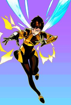 """Genetically altered by Dr. Henry Pym, Janet Van Dyne gained the ability to alter her size, fly at rapid speeds and fire bio-electric energy """"stings."""" Calling herself """"the Wasp,"""" she became Pym's superhero partner and later a founding member and first female member of the Avengers."""