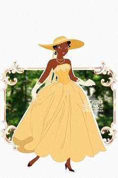 Disney Fan Art, Disney Love, Disney Artwork, Disney Nerd, Disney Drawings, Tiana And Naveen, Vintage Formal Dresses, Flower Hats, Lost Art