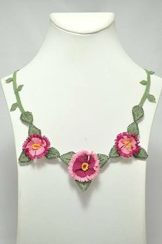 PinkPink Floral Necklace and earring SetNecklace by berratosun, $80.00