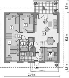 Rzut parteru projektu Murator C333j Miarodajny - wariant X House In The Woods, Interior Design Inspiration, Floor Plans, How To Plan, Architecture, Home Decor, Decoration, House Template, Frases