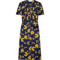 A fashion look from September 2017 featuring floral printed dress, maryjane pumps and brown purse. Browse and shop related looks. Blue Silk Dress, Silk Floral Dress, Jacquard Dress, Floral Dresses, Blue Dresses, Renaissance Dresses, Ootd Fashion, Trending Outfits, Pattern Dress
