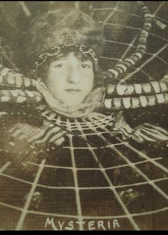 1920s postcard of Mysteria The Spiderwoman, popular carnival sideshow gaff from fair in Davenport Iowa