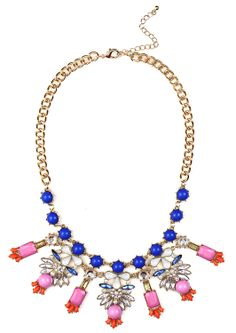 Frosted Winged Pearl Statement Necklace #necklace #colorful #pink #purple #blue #crystals #gold #flowers