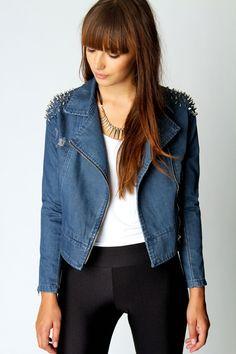 Izzy Studded Shoulder Denim Jacket just £35 #lfw #boohoostyle