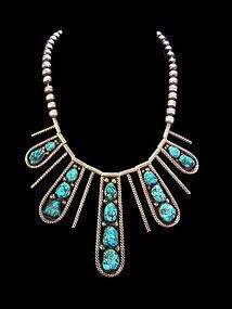 Dramatic Tsosie Vintage Native American Turquoise Sterling Necklace